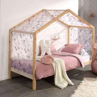 Haus Kinderzimmerbett aus Kiefer Massivholz Vorhang