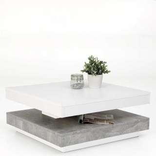 Sofatisch in Weiß und Beton Grau modern
