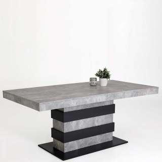 Design Esstisch in Beton Grau und Anthrazit Mittelauszug