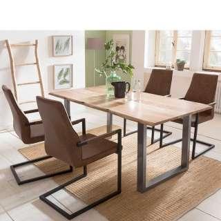 Esszimmergruppe mit Baumkanten Tisch Loft Design (5-teilig)