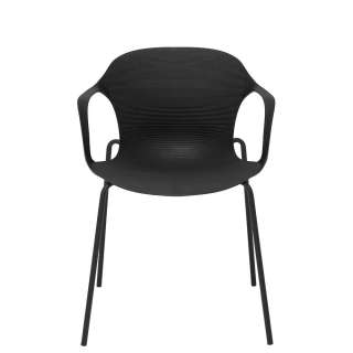 Armlehnenstühle in Schwarz Kunststoff und Metall (4er Set)