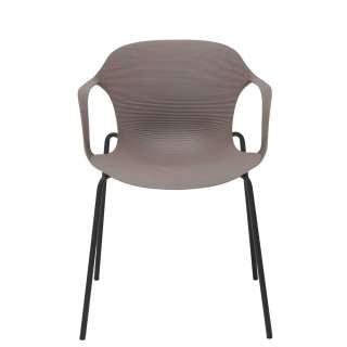 Kunststoff Armlehnenstühle in Schlammfarben Metallgestell (4er Set)