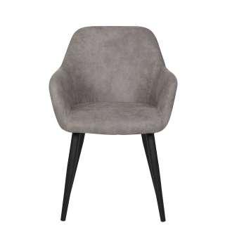 Esstisch Stühle in Grau Microfaser Armlehnen (2er Set)