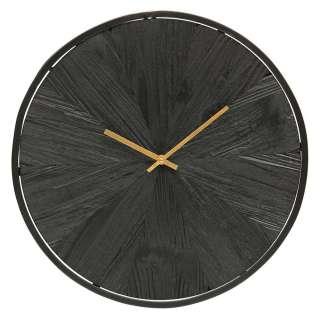 Uhr in Schwarz und Goldfarben rund