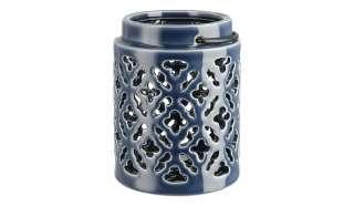 Windlicht ¦ blau ¦ Steinzeug, Metall ¦ Maße (cm): H: 15 Ø: 11.5 Dekoration > Laternen & Windlichter - Höffner