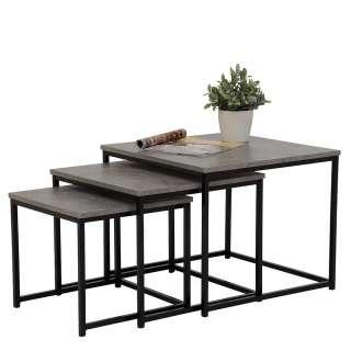 Beistelltisch Set in Beton Grau und Schwarz Loft Design (3-teilig)