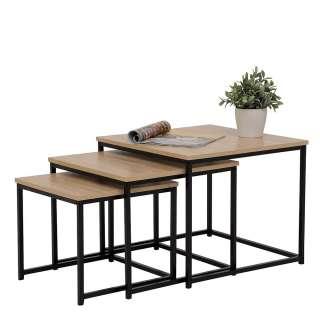 Dreisatztisch in Schwarz und Sonoma Eiche Loft Design (3-teilig)