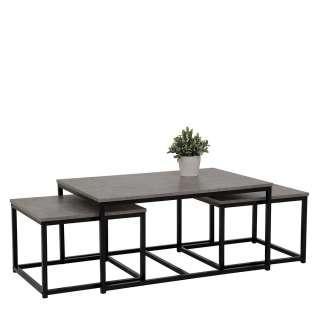 Dreisatztisch in Beton Grau und Schwarz Loft Design (3-teilig)