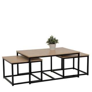 Sofa Tisch Set in Schwarz und Sonoma Eiche Loft Design (3-teilig)