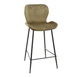 Barstühle in Beige Samt modern (4er Set)