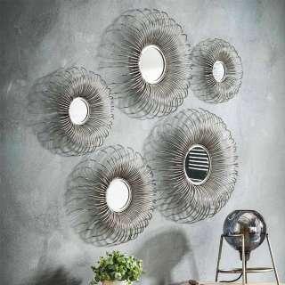 Design Spiegel mit Draht Metallrahmen rund (5-teilig)