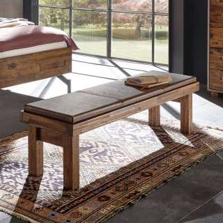 Bettbank aus Akazie Massivholz 140 cm breit