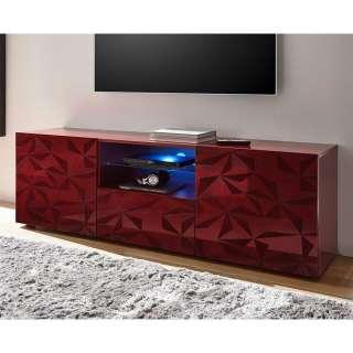 TV Lowboard in Rot Hochglanz Siebdruck verziert