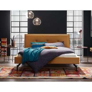 Design Polsterbett in Ocker Samt Nachttischen (3-teilig)