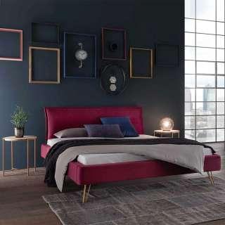 Samt Bett in Dunkelrot Nachttischen (3-teilig)