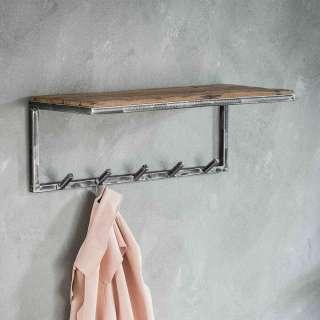 Wandgarderobenleiste aus Hartholz und Metall 70 cm breit