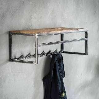 Wandgarderobe aus Hartholz und Metall 80 cm breit