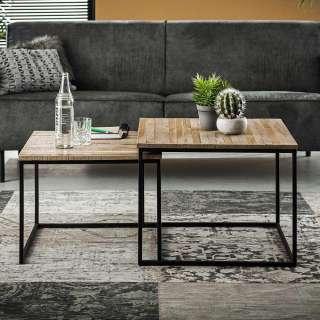 Sofa Beistelltisch Set aus Teak Grey Wash massiv Metall (2-teilig)