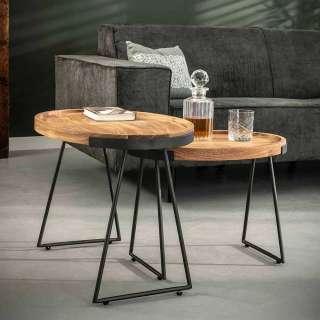 Couchtisch Set aus Akazie Massivholz und Stahl rund (2-teilig)