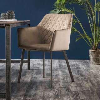 Armlehnen Esszimmerstühle in Beige Samt Metallgestell (2er Set)