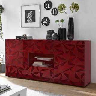 Design Sideboard in Rot Hochglanz offenen Fächern
