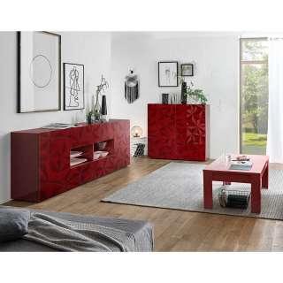 Wohnzimmermöbel Set in Rot Hochglanz Siebdruck verziert (3-teilig)