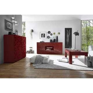 Wohnzimmer Kombination in Rot Hochglanz Siebdruck verziert (3-teilig)