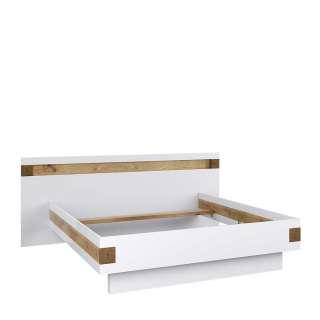 Ehebett in Weiß und Asteiche Furnier modern