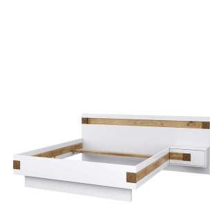 Komfortbett in Weiß und Asteiche Furnier Nachtkonsole rechts (2-teilig)