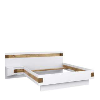 Doppelbett in Weiß und Asteiche Furnier Nachtkonsole links (2-teilig)