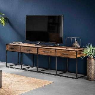 Fernsehboard aus Hartholz und Stahl 180 cm breit