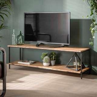 TV Bank aus Akazie Massivholz und Metall 150 cm breit