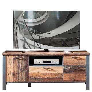 TV Board in Altholz Optik und Anthrazit Loft Design