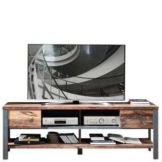 Fernseher Tisch in Altholz Optik und Anthrazit Loft Design