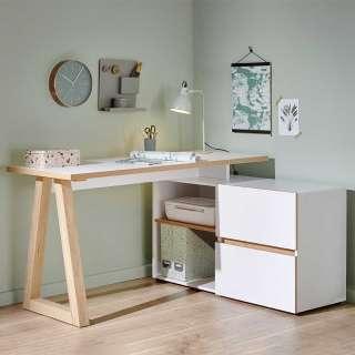 Schreibtisch in Weiß und Eiche Optik 140 cm breit