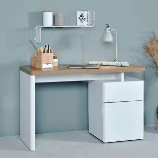 Büroschreibtisch in Weiß und Eiche Optik 120 cm breit