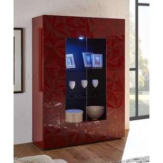 Wohnzimmervitrine in Rot Hochglanz Siebdruck verziert