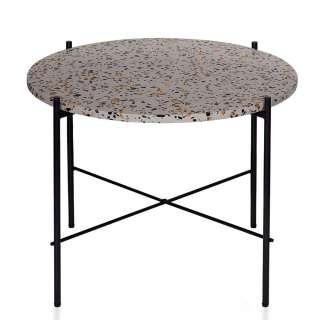 Sofa Beistelltisch mit Terazzo Platte rund