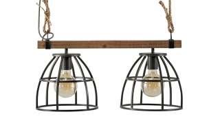 Pendelleuchte, 2-flammig, schwarz/holz ¦ schwarz ¦ Maße (cm): B: 25 H: 22 Lampen & Leuchten > Innenleuchten > Pendelleuchten - Höffner