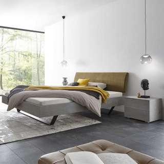 Niedriges Bett in Beton Grau Polsterkopfteil in Khaki (3-teilig)