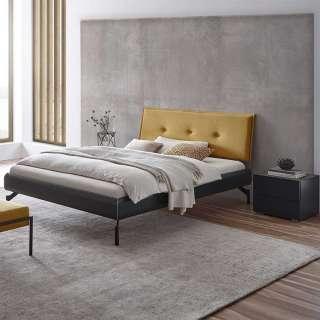 Niedriges Bett in Anthrazit und Ocker Nachtkommoden (3-teilig)