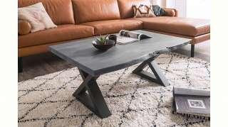 MCA furniture Baumkantentisch, Couchtisch Massivholz mit Baumkante, Rissen und Löchern