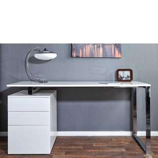 Schreibtisch in Hochglanz Weiß und Chromfarben drei Schubladen