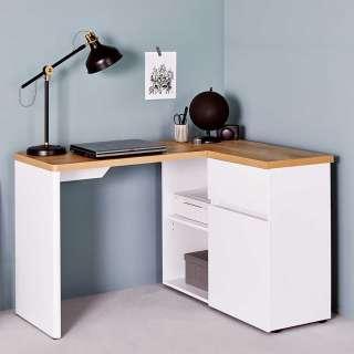 Winkelschreibtisch in Weiß und Eiche Optik Skandi Design
