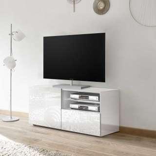 TV Board in Weiß Hochglanz Siebdruck verziert