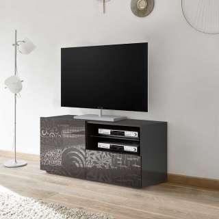 Fernseh Unterschrank in Anthrazit Hochglanz Siebdruck verziert
