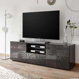 Fernsehboard in Anthrazit Hochglanz Siebdruck verziert