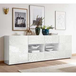 Esszimmer Sideboard in Weiß Hochglanz Siebdruck verziert