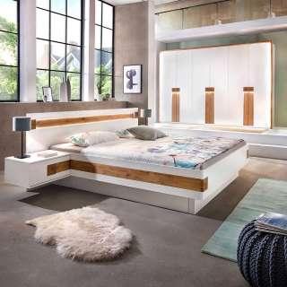 Komplettschlafzimmer in Weiß und Asteiche Furnier Doppelbett (4-teilig)