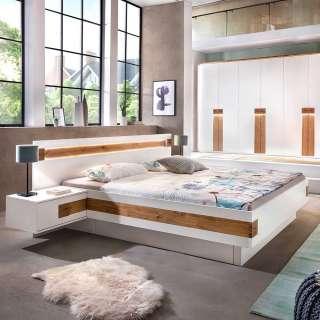 Komfortbett in Weiß und Asteiche furniert Nachtkonsolen (3-teilig)